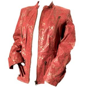Red and gold snakeskin print leather jacket McCoy